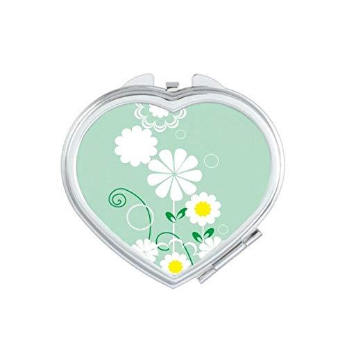 DIYthinker Plantes Fleuries Feuilles Vertes Pétale Coeur Miroir de Maquillage Compact Portable Mignon Miroirs de Poche à la Main Cadeau Multicolore