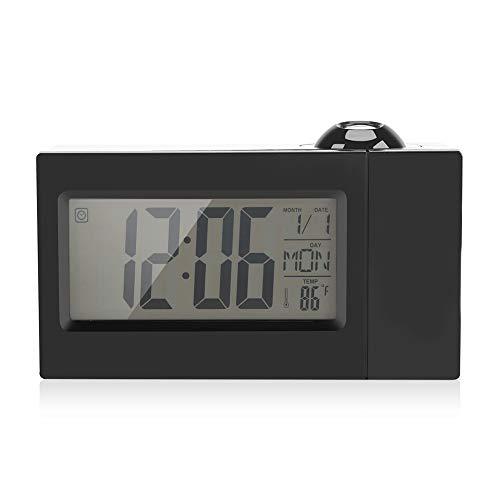 BGDR Projektionsuhr, LCD-Anzeige Sound Control Decke Projektionsuhr Alarm Snooze Date Temperatur(schwarz)