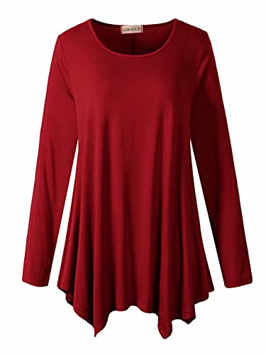 LARACE Womens Long Sleeve Flattering Comfy Tunic Loose Fit Flowy Top (2X, Wine Red)