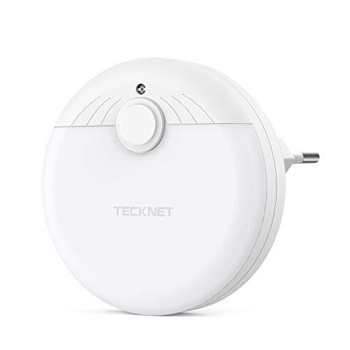 TECKNET Luz Nocturna LED para Escalones con Sensor de Luz Automático, Luz Quitamiedos Infantil para Niños, Enchufe Europeo, Luz Blanco y Suave, Se Fija a Cualquier Sitio