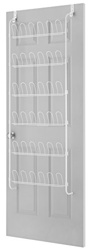 Whitmor 18-Pair Over The Door Shoe Rack, Unisex, White