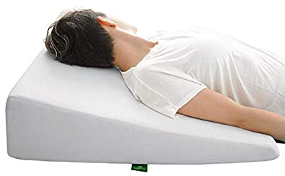 Bed Wedge Pillow with Memory Foam Top by Cushy Form - Best for Sleeping, Reading, Rest or Elevation - Breathable and Washable Cover (7.5 Inch Wedge, White)