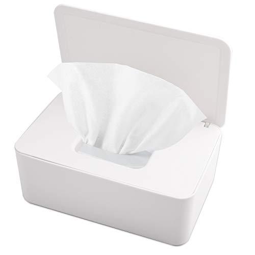 KONUNUS Feuchttücher Box, Toilettenpapier Box, Baby Tücher Fall, Feuchttücherbox Tücherbox, Tissue Toilettenpapier Spender , Serviettenbox Mit Deckel, Tissue Aufbewahrungskoffe, Kunststoff Weiß