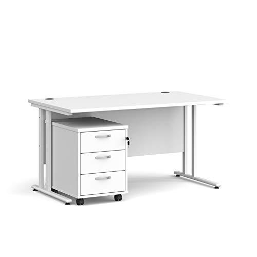 Maestro - Juego de 25 escritorios, 800 mm de profundidad, recto, pedestal móvil con 3 cajones con patas voladizas, color blanco, 140 cm