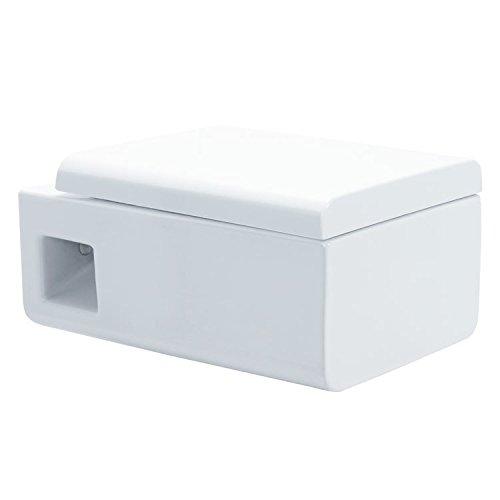 EAGO Hänge-WC WD333P (Tiefspüler) Toilette mit geschlossenem Unterspülrand, Soft-Close-Deckel und Nano-Beschichtung