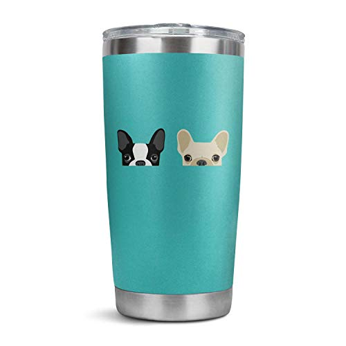 Stainless Steel Tumbler Boston Terrier and French Bulldog Friends Insulated Double Wall Travel Tumbler with Closed Lid Straw 20oz Tumblers Bulk