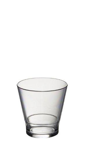 Privilige Roltex Lot de 6 Verres droits incassables et réutilisables Polycarbonate verres à Whisky empilables/à jus (Vol 250 ml-Hauteur : 8,5 cm, Diamètre 8,3 cm