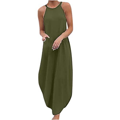 Hailmkont Kleider Damen Elegant Kleid Einfarbige Maxikleid Lang Leinen Keider Moderne Neckholder Abendkleid Ärmellos Plissee Kleid