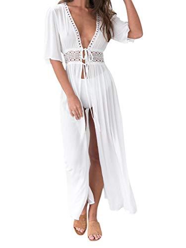 Minetom Damen Sommer Boho Kimono Lang Strand Cardigan Leichte Strickjacke Beachwear Bikini Cover Up Spitze Maxi Strandkleid B Weiß XL