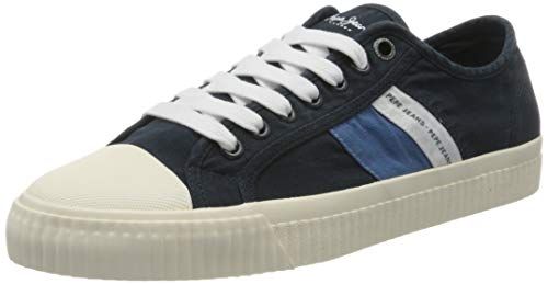 Pepe Jeans London Herren Malibu Summer Sneaker, Blau (Navy 595), 45 EU