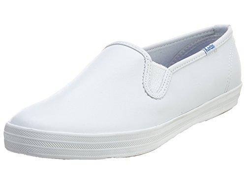 Keds Women's Champion Slip On Leather Sneaker, White, 7 Narrow
