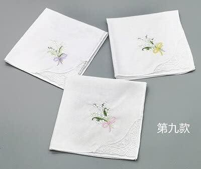 SushiSwap 3pcs Embroidery Flower White Handkerchiefs Ladies Lace Handkerchief Women Cotton Towels Chustki Zakdoek Fazzoletto Mouchoir H09 - See Chart - 354598