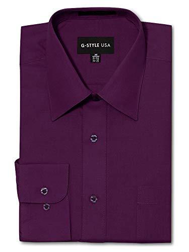 G-Style USA Herrenhemd, normale Passform, langärmelig, einfarbig. - Rot - Large / 40.64 cm -41.91 cm Hals. 86.36 cm /35 Ärmel