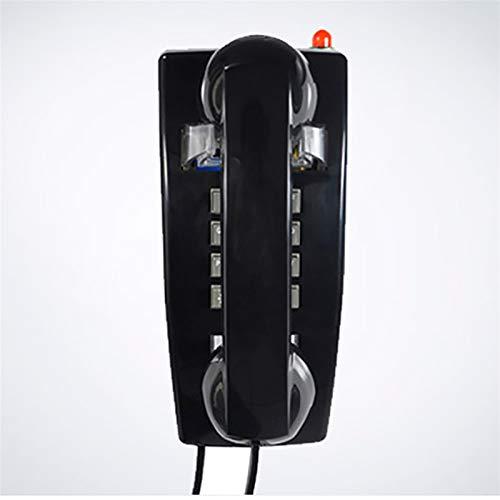 Oficina Teléfono Fijo Teléfono de Cable con Cable, teléfono con teléfono con el Control de Volumen de la Pared y el Control del Auricular, el indicador de Llamadas Parpadea (Color : Black)