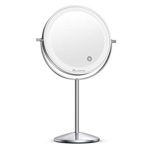 alvorog Espejo Maquillaje con Luz y 3 Modos de Color, Espejo de Mesa con Aumento 1x/5x, 360° Rotación y Brillo Ajustable, 72 LEDs Espejo de Baño para Maquillaje y Cuidado Facial, Carga con USB - Plata