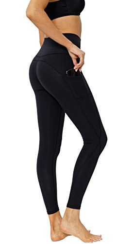 CosCool Yoga Leggings with Pockets, Tummy Control Workout Yoga Pants for Women for Girls, Black Small