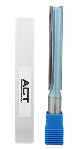 Accusize Industrial Tools Double Flute Extra Long Straight Carbide Tipped Router Bit, 1/2'' Diameter, 3'' Depth, 1/2'' Shank, 4.7'' Oal, 0021-0828
