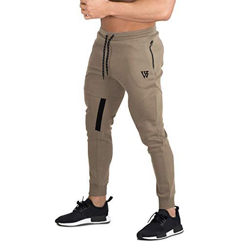 BROKIG Pantaloni della Tuta da Jogging da Palestra Vertex da Uomo con Tasche Beige XXL