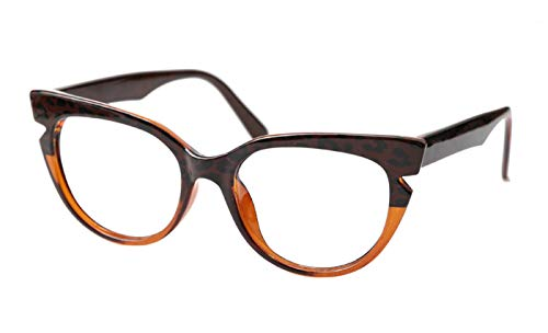SOOLALA Womens Tea Pattern Cat Eye Reading Glasses Quality Eye Glass Frame, Tea, 1.25
