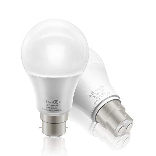 BeiLan Lampadina LED B22, 9W (equivalenti a 60W), 850LM 6500K Luce Bianca Fredda - Pacco da 2 [Classe di efficienza energetica A+]