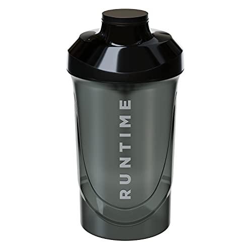 Runtime Protein-Shaker   Sport-Flasche für Nutrition und Fitness   700ml Fassungsvermögen   mit Sieb - 100% dicht   BPA-frei - inkl. Messskala (Black)