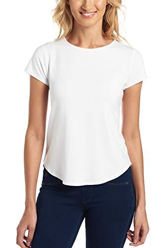 Cupio Favorite Basic - Juliana Crepe Solid Shirttail Hem Cap Sleeve Knit Top White