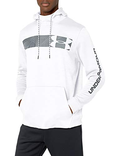 Under Armour Armour Fleece Pullover Hoodie bar Logo Graphic, White//Pitch Gray, Large