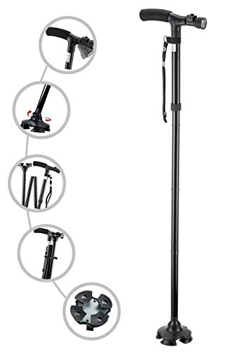 Xiqarn Portable Aluminium Alloy Handle Dependable Professional LED Light Folding Walking Stick for Old Gentleman, Walking Sticks for Old People, Walking Stick for Old Women (Black)
