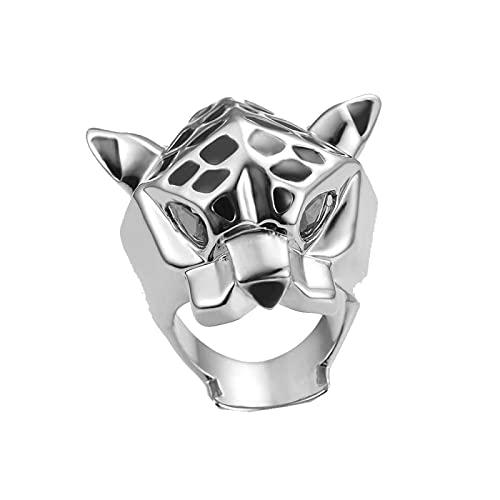 Anillo de declaración de leopardo hombre mujer anillo de ojos de circonita verde7silver