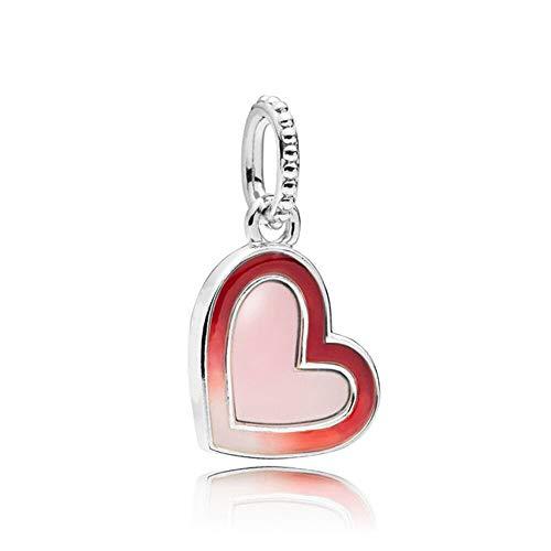 925 Plata Perla Real Asimétrica Corazón De Amor Colgante Encanto Moda Mujer Pandora Pulsera Y Brazalete Regalo Diy Joyería Regalo De Vacaciones Para Novia