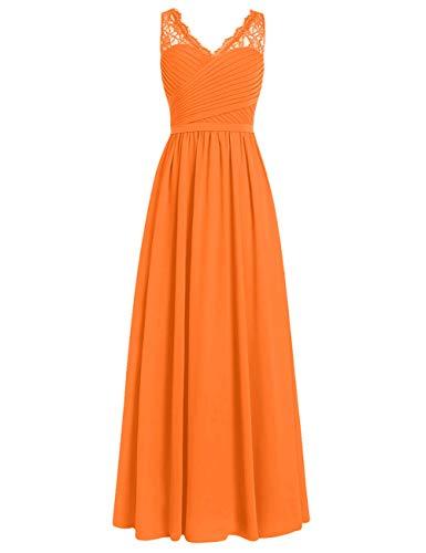 Brautjungfernkleider Spitze Lang A-Linie Chiffon Ballkleider V-Ausschnitt Ärmellos Abendkleider Hochzeit Kleider Orange 44