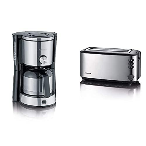 SEVERIN KA 4845 Type Switch Kaffeemaschine (Für gemahlenen Filterkaffee) edelstahl/schwarz & AT 2509 Automatik-Toaster (1.400 W, 2 Langschlitzkammern, für bis zu 4 Brotscheiben) Edelstahl/schwarz