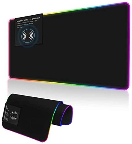 Alfombrilla de ratón RGB de Carga inalámbrica para Juegos, Alfombrilla de ratón con Cargador rápido de 10 W con Alfombrilla de ratón Extra Grande de 12 Modos de luz