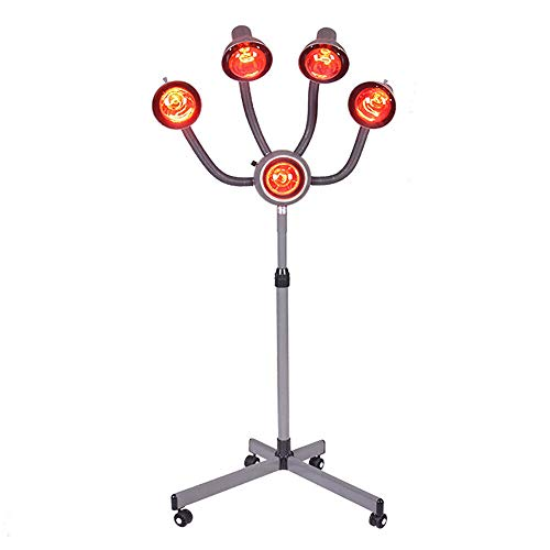 Pro Infrared Lamp 5 Heads Hair Color Processing Drying Salon Perm Hair Drying Care Infrared Heater 110V Height and Temperature Adjustable Floor Type for Hair Salon