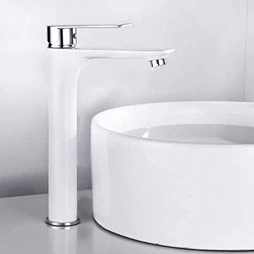 Grifo de cocina Grifo de lavabo de latón Grifo de grifo pintado de blanco Perforador Grifo de cocina de una mano Fregadero de cascada fría y caliente
