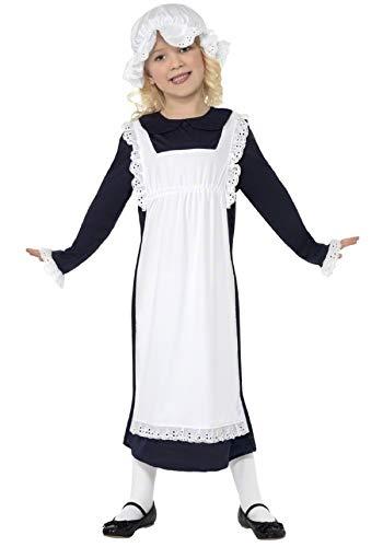 Filles Femme de Chambre Victorien pauvre paysante Servante Historique journée du Livre Déguisements Costume - Noir, 7-9 Years