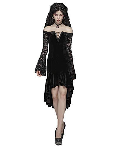 Punk Rave Gothic Viktorianisches Kleid mit Spitze, Lange Ärmel, Schwarz M-L