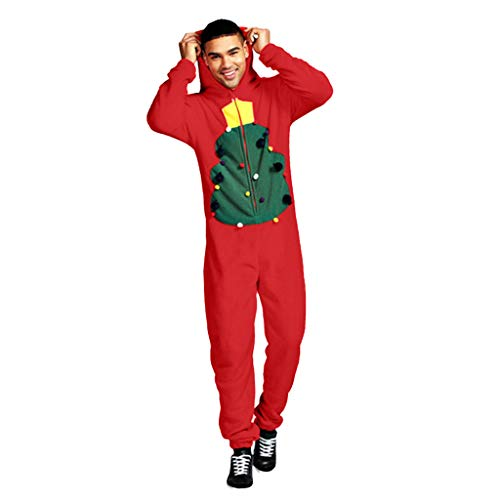 MIS1950s Winter Xmas Adult Hoodie Fleece Onesie Unisex Jumpsuit One-Piece Garment Hooded Pajamas