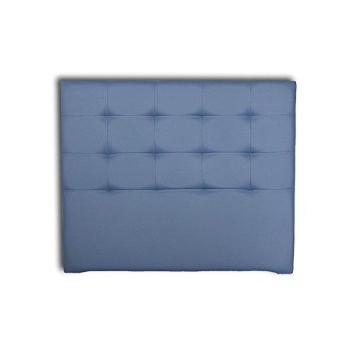 Ventadecolchones - Cabecero Tapizado Acolchado de Dormitorio en Polipiel Modelo Tablet Largo, Azul Marino y Medidas 106 x 125 cm para Camas de 90 ó 105