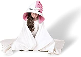 Sworn Unicorn Hooded Blanket Kids & Adults | Wearable Pink White Plush Throw Blanket Wrap | Cute, Warm, Durable Cashmere Fleece Snuggie Hood | Perfect for Kids, Toddlers, Children & Girls (Kids)