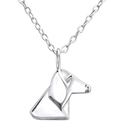 FaithOwl Origami Collar con colgante de perro en plata de ley 925
