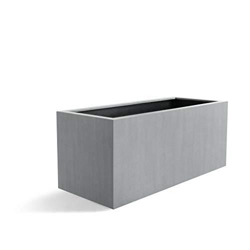Luca Lifestyle Pflanzkasten Argento Box Betongrau Rechteckig Fiberglas *5 Jahre Garantie* - 60x30x30 cm - F962