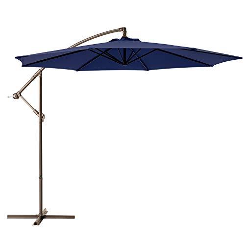 Ralawen 10 Ft Patio Umbrella Offset Cantilever Umbrella Hanging Market Umbrellas with Crank & Cross...