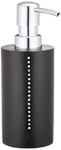 Wenko 18719100 Seifenspender Diamond, Flüssigseifen-Spender, Spülmittel-Spender Fassungsvermögen: 0,27 l, Polyresin, 8,4 x 17,9 x 6,4 cm, schwarz