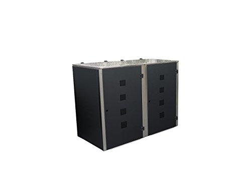 Mülltonnenbox Edelstahl, Modell Eleganza Quad, 120 Liter, Zweierbox, in Anthrazitgrau RAL 7016 - 2