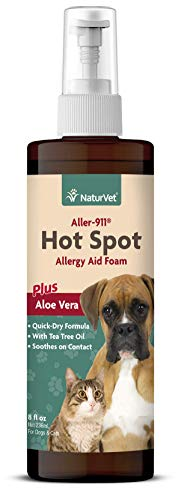 NaturVet – Aller-911 Hot Spot Allergy Aid Foam Plus Aloe Vera – 8 oz – Helps to Relieve Itchy & Irritated Skin – Enhanced with Bittering Agent to Deter Gnawing & Chewing – For Dogs & Cats