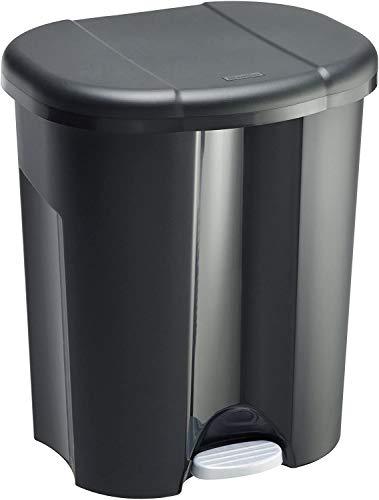 Rotho Trio Mülleimer 1x 10l + 2x 15l zur Mülltrennung mit Deckel, Kunststoff (PP) BPA-frei, schwarz, 1 x 10l + 2 x 15l (49,0 x 42,0 x 58,5 cm)