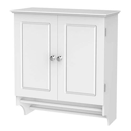 Yaheetech Bathroom/Kitchen Wall Mounted Cabinet White Double Door & Hanging Bar Storage Cupboard