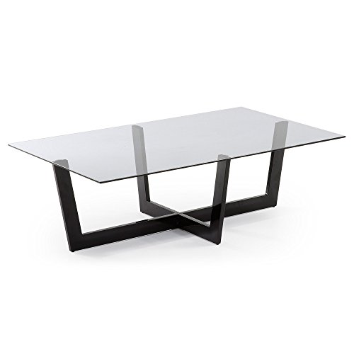Kave Home - Table Basse Plam 120 x 70 cm avec Plateau en Verre et Pieds en Acier Noir