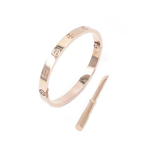 Luxus-Armreif/Armband Damen Herren, vergoldeter Edelstahl, schlichter Stil, Edelstahl,
